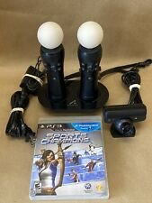 Sony PS3 Move Motion Controllers-Eye Camera-Charger Dock-Sports Champions Game