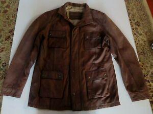 BUGATTI Mens Brown Soft Leather Bomber JACKET -Sz.50 or L