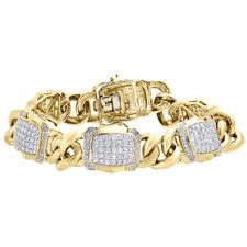 "10K Yellow Gold Miami Cuban Link Diamond Bracelet 8.5"" Pave Domed Style 4.81 CT."