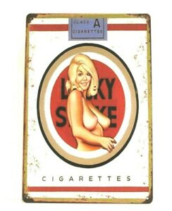 Lucky Strike Cigarettes Pinup Girl Tin Poster Sign Man Cave Vintage Style Ad