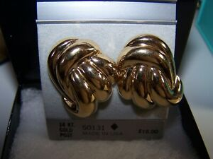 NEW TRIFARI DESIGNER 14 KT GOLD POST MULTIPLE SWIRLS  DANGLING POST EARRINGS