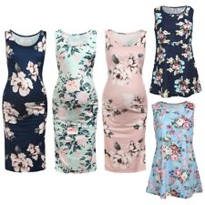 Maternity Floral Dress Pregnant Women Summer Bodycon Clothes Sleeveless Outfit
