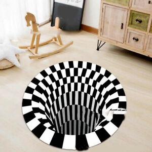 3D Stereo Printed Round Vortex Illusion Anti-slip Carpet Home Floor Door Mat US
