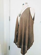 Jigsaw Brown Draped Sleeveless Cardigan Top Size S/M 100% Linen