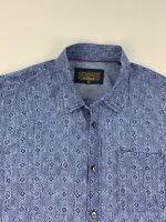 J.L. Powell Sporting Men's Sz X-Large XL 100% Linen Blue Pattern Shirt