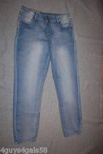 Junior Womens Light Blue SKINNY Jeans Mid Rise Prefaded Lightweight 13 /14 Short