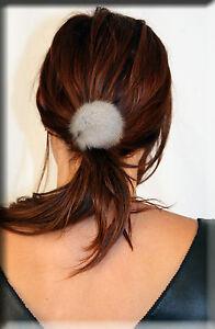 New Sapphire Mink Fur Ball with Scrunchy Scrunchie Scrunchies - Efurs4less