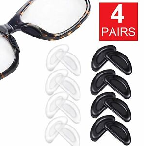 4 Pairs Anti-slip silicone Stick On Nose Pads For Eyeglasses Sunglasses Glasses