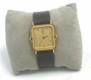 SEIKO Quartz Gold Toned Black Leather Strap Wristwatch Spares/Repairs - G36