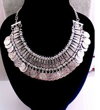 Bohemian Ethnic Tribal Retro Chunky Coins Bib Statement Pendant Necklace UK