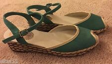 NEW SIZE 9 ANKLE STRAP RETRO WEDGE TEAL SANDALS - CANVAS - MONTEGO BAY CLUB