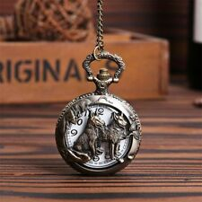 Vintage  Pocket Watch Bronze Wolf Quartz Pendant Gifts Necklace Women Men's