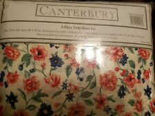 NIP Vintage Twin Sheet Set Canterbury floral 3 piece percale