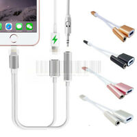 2in1 3.5mm Audio Headphone AUX Adapter Charger Cable For iPhone Xs Max Xr 7 8 +