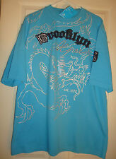 BROOKLYN/EXPRESS~men~EMBROIDERED/TURQUOISE/BLUE/SHORT/SLEEVE/T/SHIRT! (L) N/WT!/