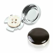 BLACK & SILVER pulsante copre - 18mm/0.7 POLLICI x 2 Gemelli per camicie regolari