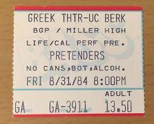 1984 THE PRETENDERS ALARM BERKELEY CONCERT TICKET STUB LEARNING TO CRAWL TOUR