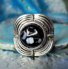 Ring Vintage Style Tibet Silver Square Black Shell Mother of Pearl in Resin