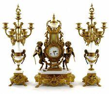 3pc French Neoclassical Figural Putti Bronze/Marble Mantel Clock set