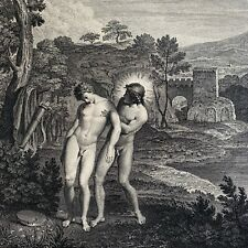 18th Century Antique Engraving, Apollo and Hyacinthus, Nude Males