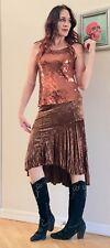 Vtg 90s Grunge Boho Bronze Crushed Velvet Hi Lo Waterfall Skirt S
