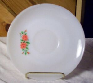 VINTAGE FIRE KING WHITE SAUCER PINK FLOWERS