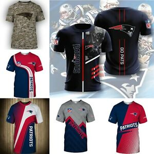 New England Patriots Men's Casual T-Shirts Summer Short Sleeve Top Tees S-5XL