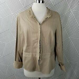 Venezia Lane Bryant field Jacket Plus Size 18/20 2X Ruffle Stripe Blazer Tan