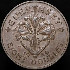 1959 | Guernsey 8 Doubles | Bronze | Coins | KM Coins