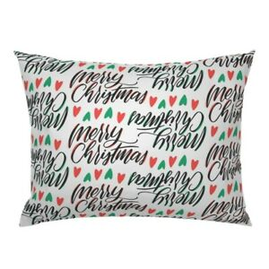 Xmas Christmas Holiday Merry Green Red Colorway1 Holly Pillow Sham by Roostery