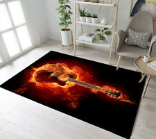 Black Background Flame Fire Guitar Pattern Area Rugs Soft Living Room Floor Mat