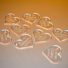Personalised Clear Acrylic Hearts - 4cm Wide. Table Decorations. Wedding Favour