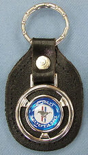 Vintage Blue + White Ford MUSTANG Steering Wheel Black Leather Keyring Key Fob