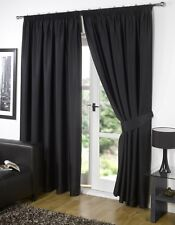 Pair of  Black  90'' x 54'' Supersoft Blackout Thermal Pencil Pleat  Curtains