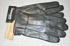 Mens Black Soft Leather Gloves 40 Gram Thinsulate Insulation Large Plain NEW