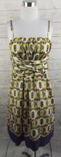 Ted Baker Sash Dress Size 3 Medium Navy Blue Yellow Geo Print Silk Cotton
