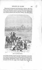Mirage Désert Sahara Algérie Algeria Caravane Camel GRAVURE ANTIQUE PRINT 1874
