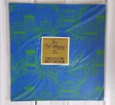 Vintage Gibson Sheets Gift Wrapping Paper Blue with green Candles Holiday Retro