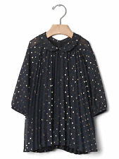 Baby Gap Girl's Dark Grey Shimmer Dot Crown Print Pleated Dress Size 0-3 M NWT