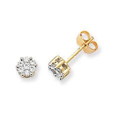 Diamond Earrings Cluster Stud Yellow Gold 0.33ctw Appraisal Certificate