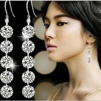 Fashion Lady Round Crystal Silver Long Drop Dangle Earrings Bridal Jewelry Gift
