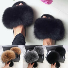 WOMENS FLUFFY FUR LUXURY SLIDES SLIDERS SUMMER SLIDERS SLIPPERS SANDALS SIZE US