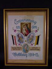 gesticktes Maria Hilf Soldatenbild - WK I 1915 Österreich - Kaiser Franz Josef