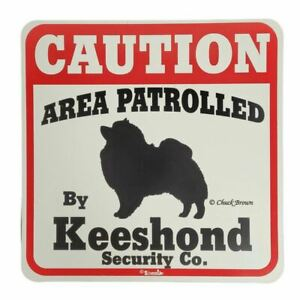 """Funny Keeshond Dog Sign Warning Caution Red White Black Indoor Outdoor 11x11"""""""