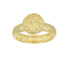 Stil Novo 14k Yellow Gold Textured 9.9mm Puffed Circle Top 4mm Band Ring Size 7