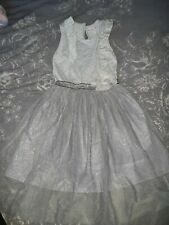 Stunning Age 6-7 Years Silver Party Dress