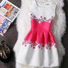 Summer Women Sleeveless Bodycon Casual Party Evening Cocktail Mini Skater Dress