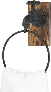 Industrial Faucet Design Black Metal & Burnt Wood Wall Mounted Hand Towel Ring