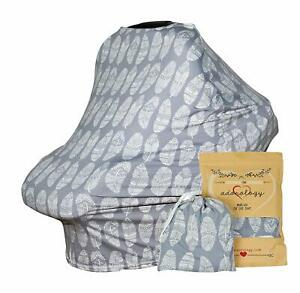Baby Car Seat Canopy Nursing Cart Stroller Cover Gray Feathers Soft Shower Gift