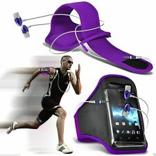 Purple✔Quality Sports Armband Gym Running Phone Case Cover+In Ear Headphones